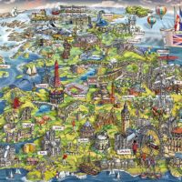 map, puzzle, jigsaw, uk, britain, yorkshire, harrogate