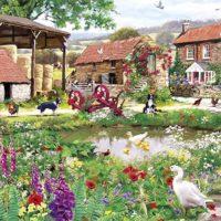 jigsaw, puzzle, farm, landscape, relaxing, art