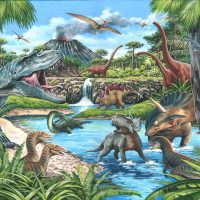 dinosaurs, jigsaw, puzzle, extra large, relaxing, therapy