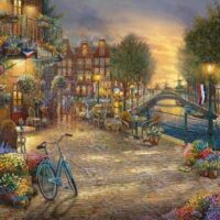 jigsaw, puzzle, kinkade, amsterdam, relaxing